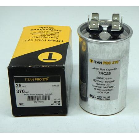 Titanpro Trc25 Hvac Round Motor Run Capacitor  25 Mfd Uf 370 Volts