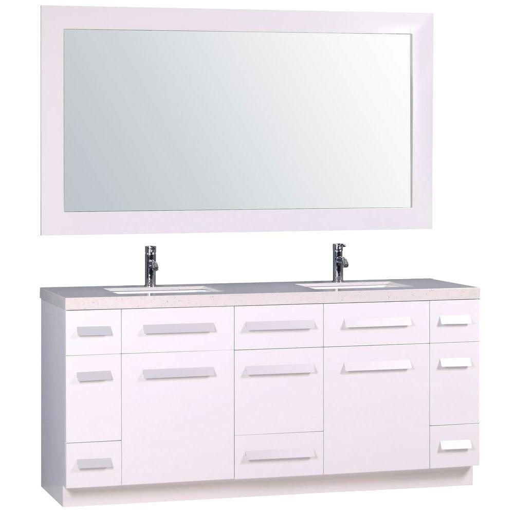 72 Inch Double Sink Bathroom Vanity Top.Design Element Moscony 72 Double Sink Bathroom Vanity Set In White With White Sparkling Quartz Countertop