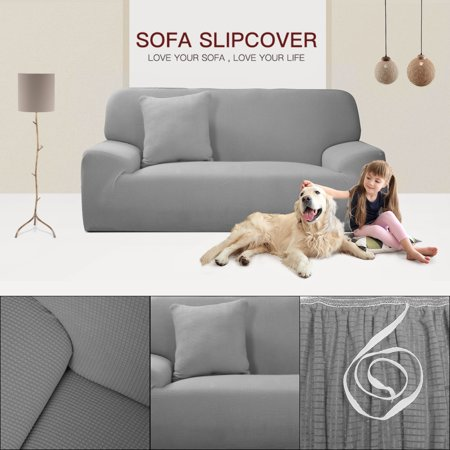"""Jacquard Sofa Covers 1-Piece 1 2 3 4 Seaters Couch Cover Home Furniture Protector #Gray 57""""-72"""" - image 2 de 7"""