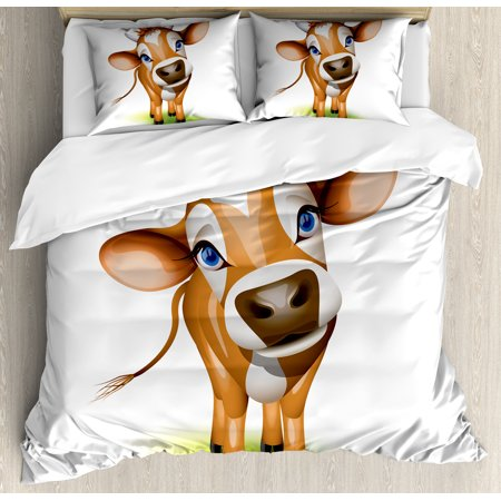 Baby Duvet Cover Set, Digitally Composed Cow with Beautiful Captivating Eyes Livestock Theme, Decorative Bedding Set with Pillow Shams, Cinnamon Royal Blue Green, by Ambesonne