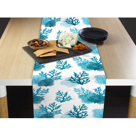 Fabric Textile Products Blue Coral Table Runner 12