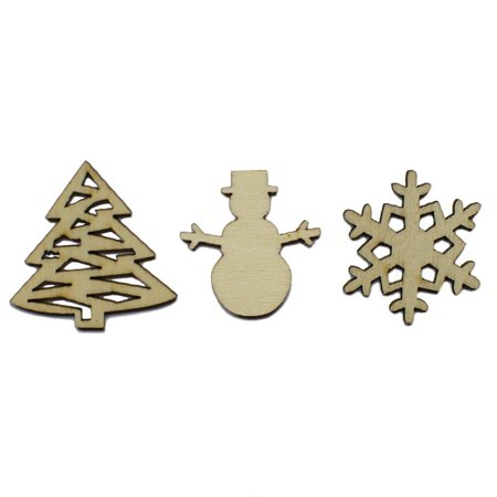 Snowman Made Out Of Wood (Set of 3 Christmas Tree, Snowman and Snowflake Cut-Outs 1.25)