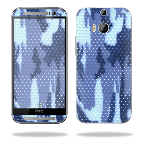 Mightyskins Protective Skin Decal Cover for HTC One M8 wrap sticker skins Blue Camo