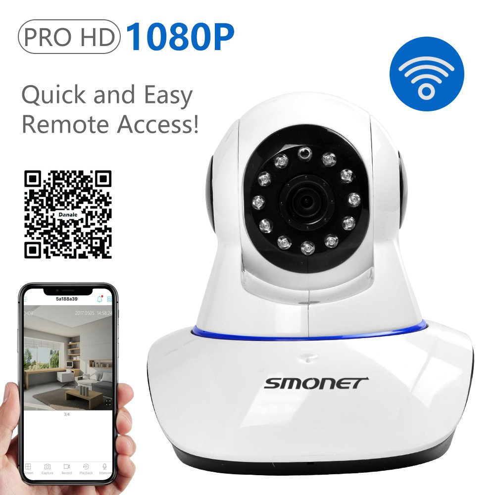 SMONET 1080P HD Wireless IP Security Camera Pan Tilt with Two Way Audio and Night Vision for Pet Monitor, Nanny Camera, Baby Monitor