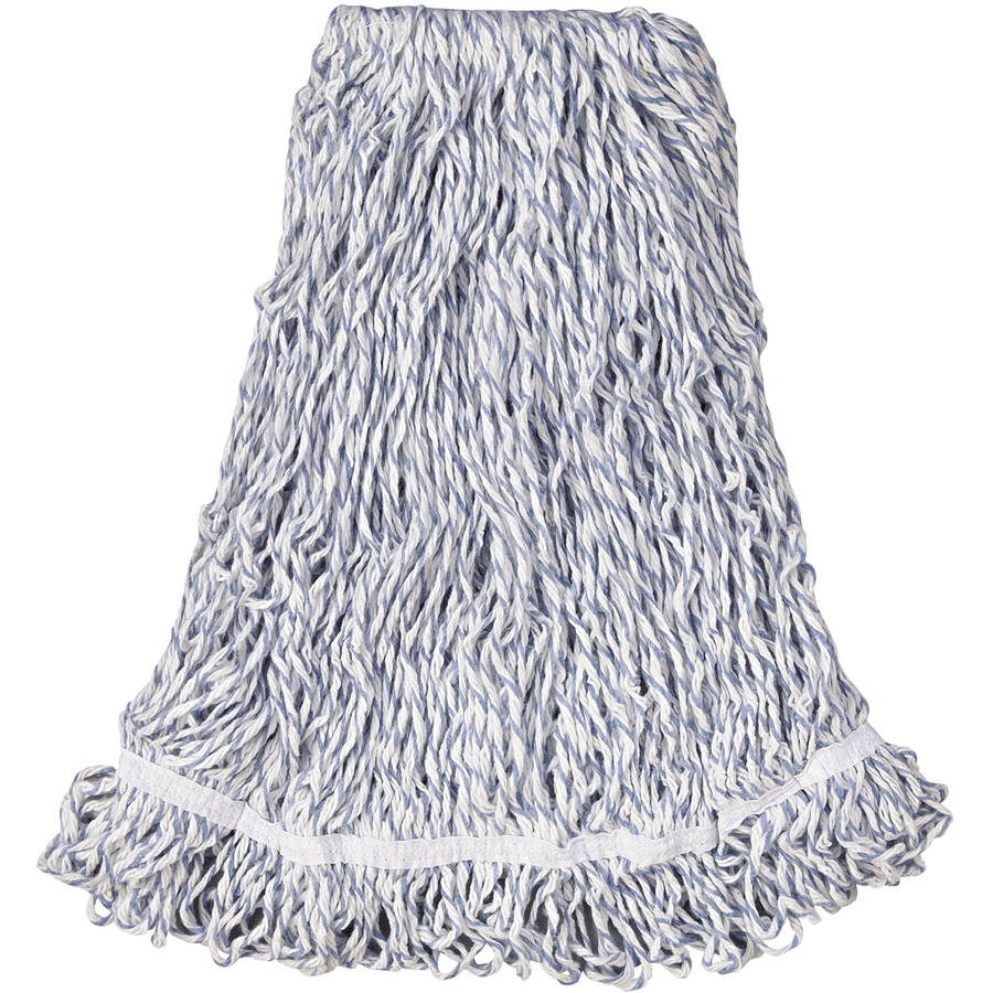 "Rubbermaid Commercial Large White Web Foot Finish Mops with 1"" White Headband, 6 count"