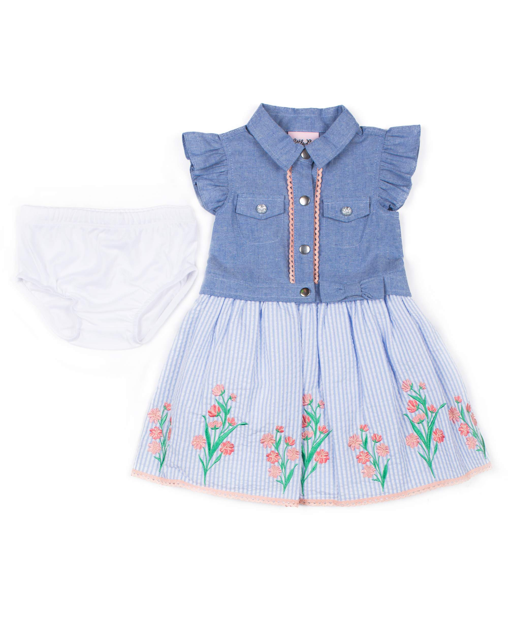 Short Sleeve Chambray & Seersucker Puff Print Dress (Baby Girls & Toddler Girls)