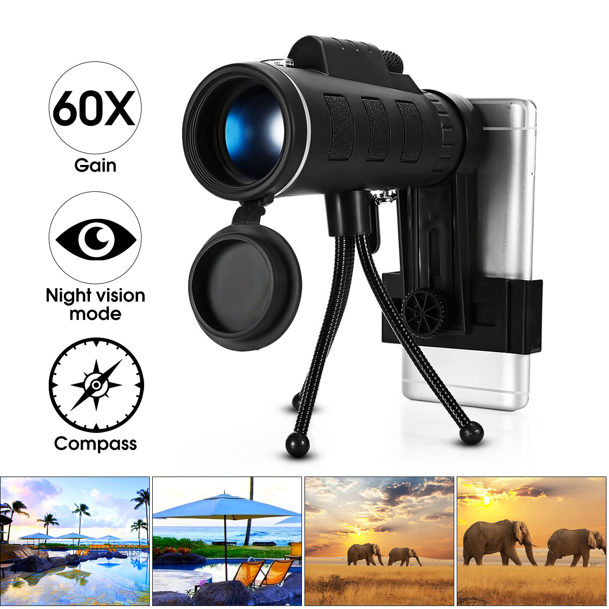 40X60 High Power Compact Monocular Telescope HD Dual Focus Scope With Cell Phone Holder +Tripod Mount, Waterproof Low Night Vision Remote Controls for Hunting Camping Traveling
