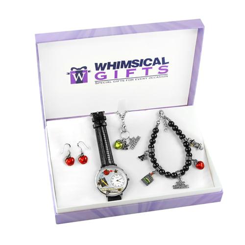 Whimsical Gifts Teacher Silver 4-piece Watch-Bracelet-Necklace-Earrings Jewelry Set - image 1 de 1