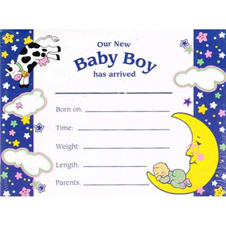 Baby Shower 'Hey Diddle Diddle' Baby Boy Birth Announcements w/ Envelopes - Retro Birth Announcements