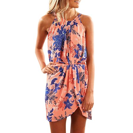 Fysho Women Summer Print Strapless Halter Hanging Neck High Waist Halter Sleeveless Slim Casual Beach Dress