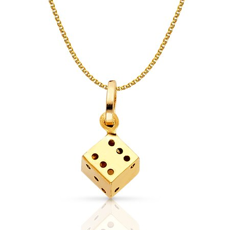 14K Yellow Gold Dice Charm Pendant with 1.2mm Flat Open Wheat Chain (Double Wheat Chain)