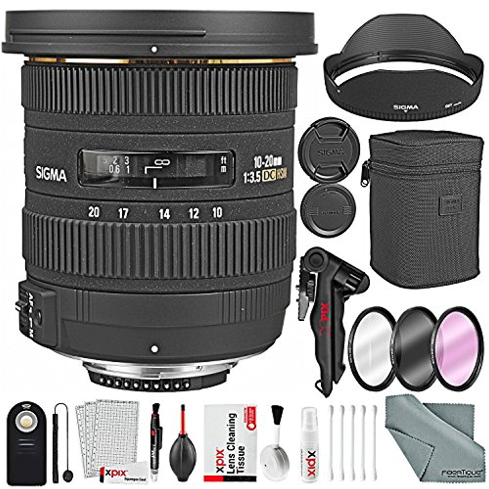 Sigma 10-20mm f/3.5 EX DC HSM Autofocus Zoom Lens For Nikon DSLRs and Bundle w/ Remote + Xpix 2-in-1Tripod + Deluxe Xpix Cleaning Kit + More