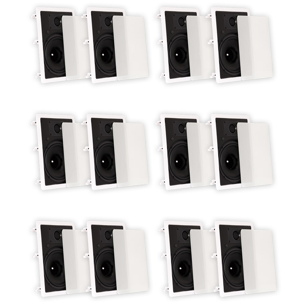 "Theater Solutions TS80W In Wall 8"" Speakers Surround Sound Home Theater 6 Pair Pack by Theater Solutions"