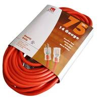 75-Ft 14 Gauge Extension Cord Indoor/Outdoor Lit Ends UL Orange