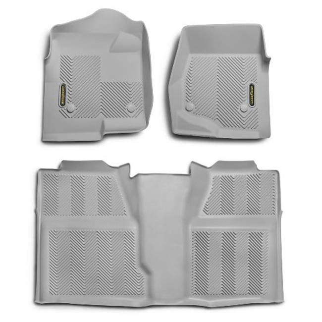Goodyear 240006 Front Pair & Rear Over Hump Bundle Floor Liner - Grey