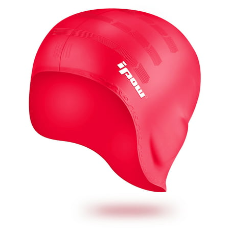 Waterproof Silicone Swimming Cap-IPOW Over the Ear Swim Hat Cap Stretchy for Unisex Adults Men Women Kids Girls Boys, Ideal for Both Long and Short Hair-Red ()