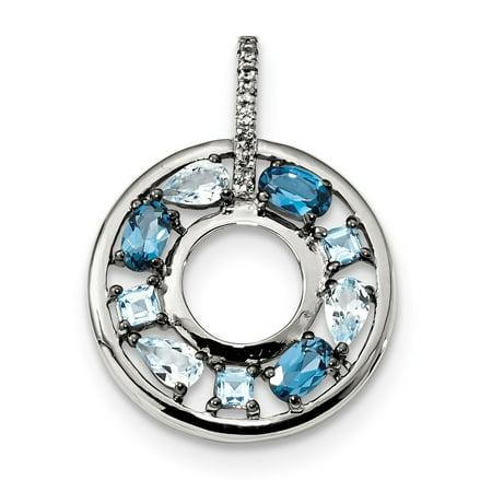 925 Sterling Silver Blue Topaz CZ Circle Pendant Blue Circle Pendant