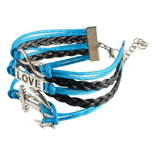 Zodaca 7 to 9 inch Adjustable Blue Black Braided Velvet and Leather Cord Bracelet with Silver Love Anchor Design