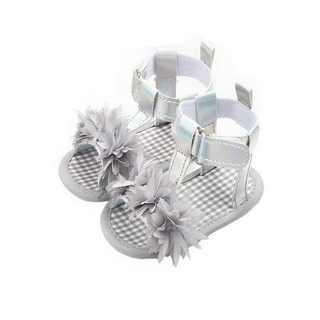 Newborn Baby Girls Flower Sandals Crib Anti Slip Soft Sole Shoes GY/11 - Flower Girl Sandals