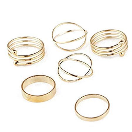 6 Pcs/Set Gold Midi Finger Ring Set Vintage Punk Boho Knuckle Rings Jewelry New (Gold) Custom Two Finger Ring