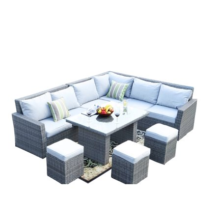 Stupendous Ivy Grey 8 Piece Outdoor Patio Furniture Conversation Set Garden Rattan Wicker Sofa Dining Set With Table And Luxury Cushions Lounge Set Frankydiablos Diy Chair Ideas Frankydiabloscom