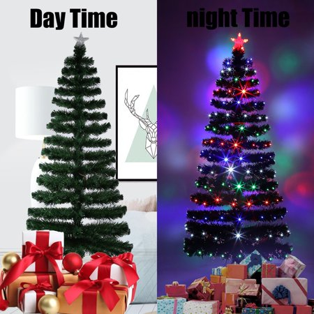 holiday festival indoor outdoor four led color changing led fiber optic lights tall christmas tree decoration