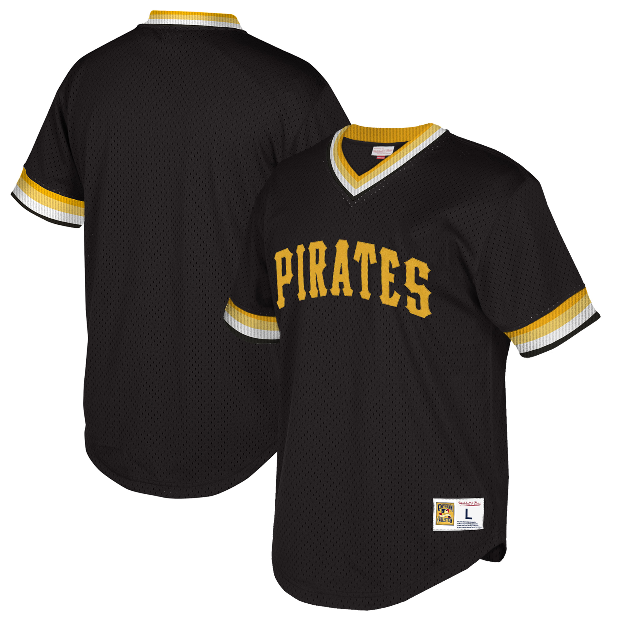 Pittsburgh Pirates Mitchell & Ness Big & Tall Cooperstown Collection Mesh Wordmark V-Neck Jersey - Black