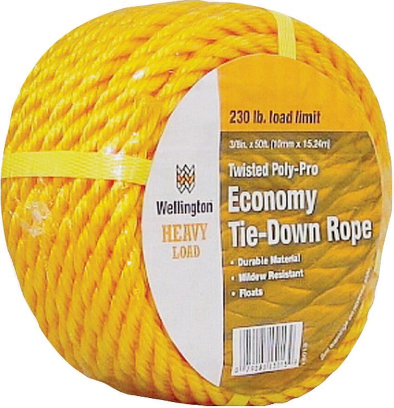 Wellington 15013 Twisted Rope, 3/8 in Dia x 50 ft L, 230 lb, Polypropylene, Yellow