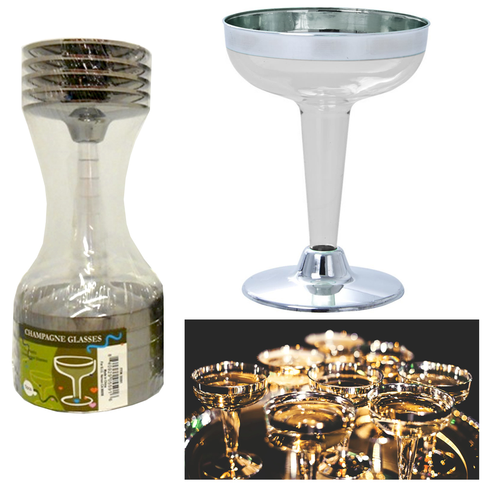 10 Plastic Champagne Wine Flutes Disposable Glasses 4.5oz Wedding Party Silver