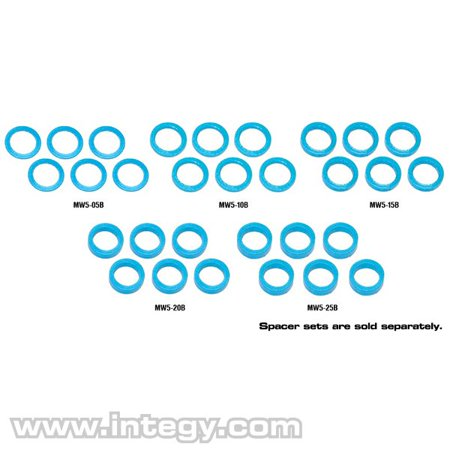 Integy RC Toy Model Hop-ups MMR-MW5-25B Muchmore Racing Color Aluminum Adjust Spacer 5.0x2.5mm Blue (6pcs)