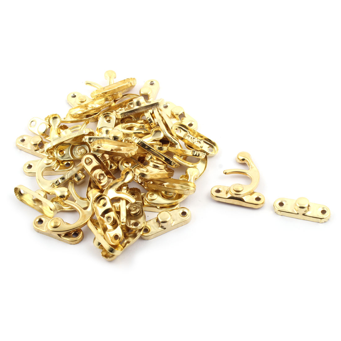 Home Metal Swing Bag Chest Hasp Box Latch Hook Lock Gold Tone 20 Sets