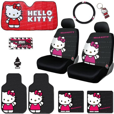 New Hello Kitty Core Car Seat Covers, Steering Wheel Cover, Front and Rear Floor Mats and Accessories Set - Shipping Included (Hello Kitty Seat Cover For Car)