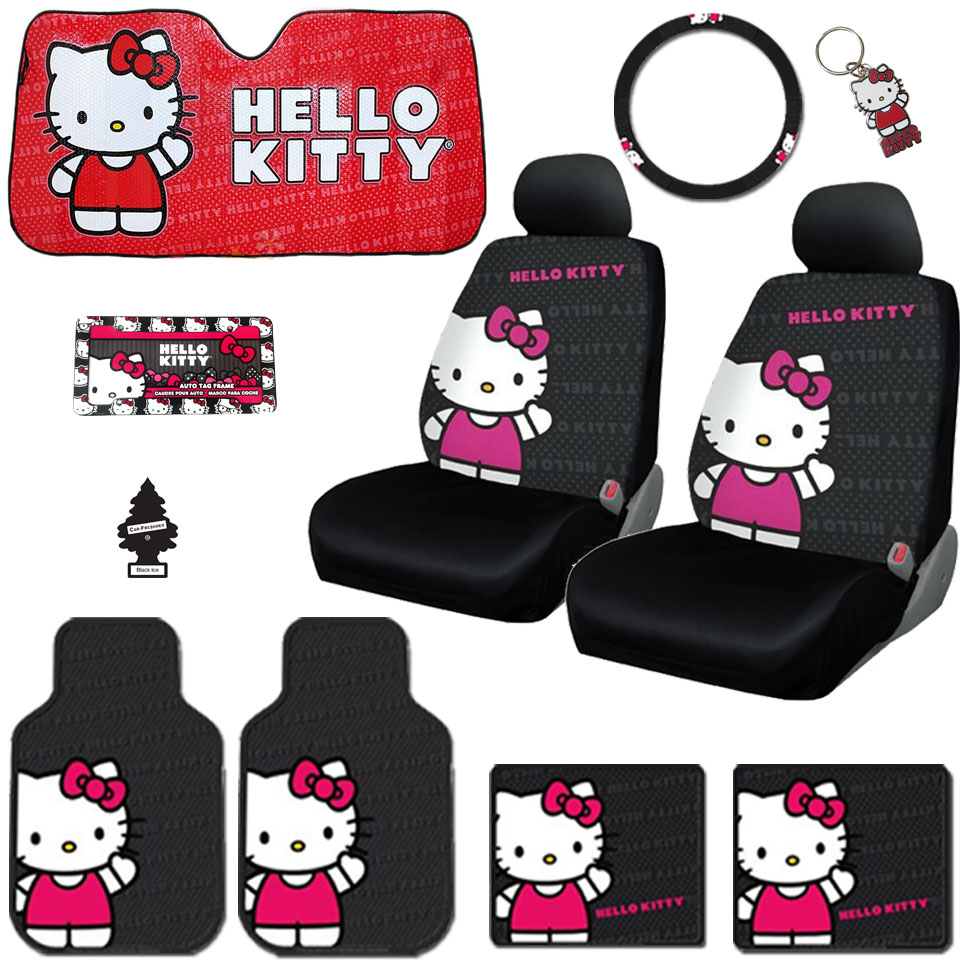 New Hello Kitty Core Car Seat Covers, Steering Wheel Cover, Front and Rear Floor Mats and Accessories Set - Shipping Included