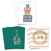 Assortment 24 Holiday Greeting Cards, 3 Elegant Christmas Designs Set, Envelopes Included, Joyful Season's Greetings Family & Friends, 24 Mixed Variety Cards, Great Value by Digibuddha VHA0026B