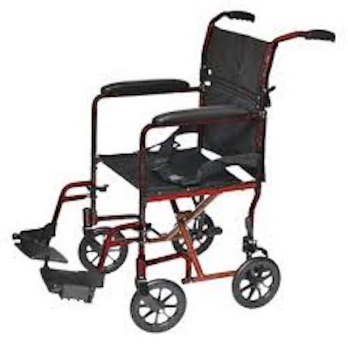 """ProBasic Steel Transport Wheelchair with 19"""" Wide Seat, Red"""