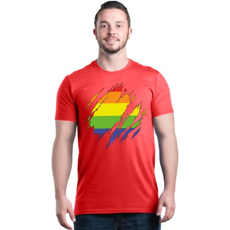 Shop4Ever Men's Ripped Rainbow Flag LGBTQ Gay Pride Graphic T-shirt