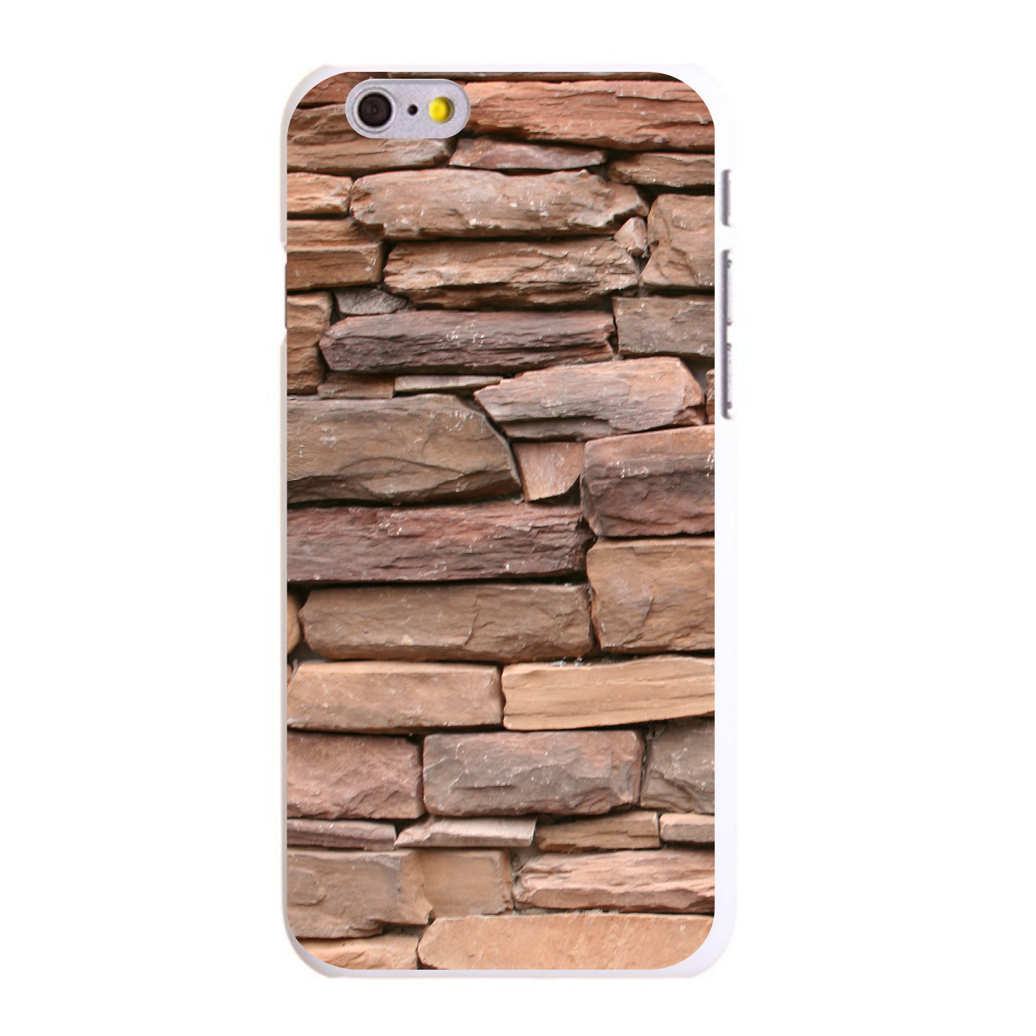"CUSTOM White Hard Plastic Snap-On Case for Apple iPhone 6 PLUS / 6S PLUS (5.5"" Screen) - Stacked Stone Wall"