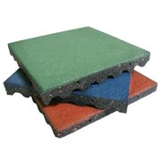 Rubber-Cal Eco-Safety Interlocking Playground Tiles - Green, 10 Pack, 20 x 20 x 2.5 in.