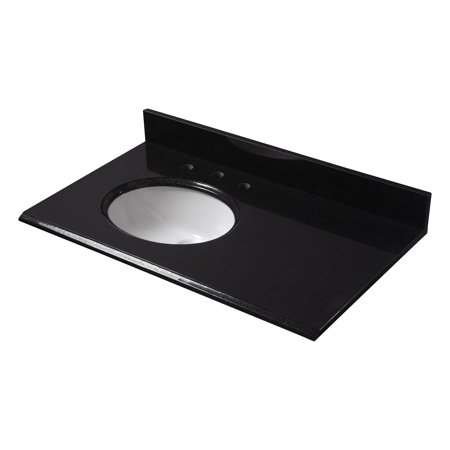 marble hole x marquina black top semi for left sink recessed single vanity
