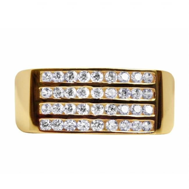 Precious Stars JTSRM-10K186 10k Yellow Gold Mens Cubic Zirconia Multi-Row Wedding Band