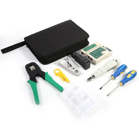 Yosoo RJ45 RJ11 Ethernet Cable Hand Crimper Network Tester Tool Set Punch Down Impact, Hand Crimper, Network Tester Tool