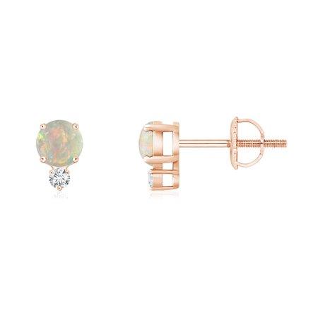 48d3126a0 October Birthstone Earrings - 4mm Opal Basket Stud Earrings with Diamond in  14K Rose Gold - SE0133OPD-RG-AAAA-4 - Walmart.com