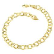 Fremada 14k Yellow Gold 6.6mm Round Link Charm Bracelet