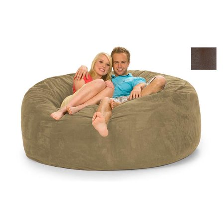 relaxsacks 6dm fl001 6 ft round relax sack faux leather brown