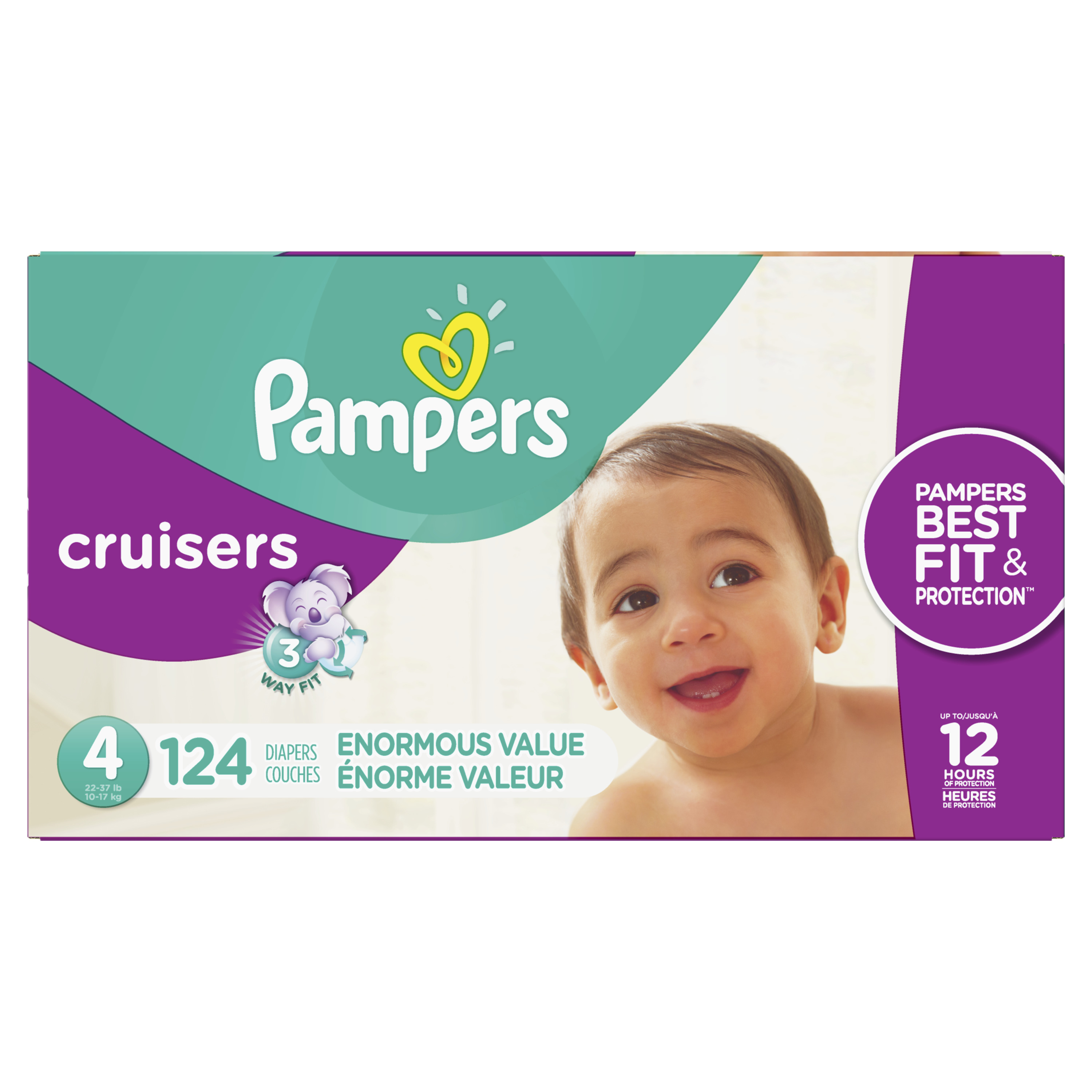 Pampers Cruisers Diapers (Choose Size and Count), Size 4, 124 Count