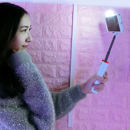 Selfie Stick Tripod, Extendable Selfie Stick with Detachable Bluetooth Remote Shutter and Fill Light, Compatible with Xs max/XS/XR/X/8/8P/7/7P/6s, Galaxy S10/S9/8/7/6, Huawei, More PINK - image 4 de 8