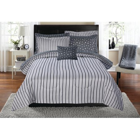 Mainstays Charlotte Stripe Bed in a Bag Bedding Comforter Set, Queen (Comforters Sets Queen)