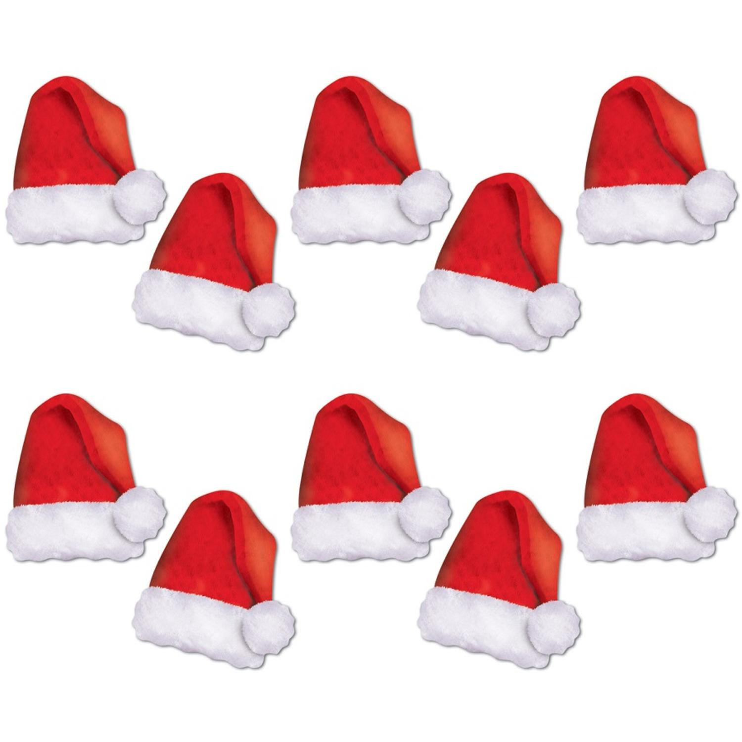 """Pack of 120 Mini Red and White Santa Hat Cutouts Christmas Decorations 5"""""""