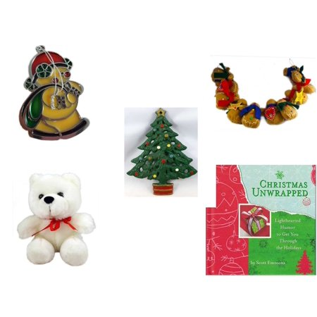 Christmas Fun Gift Bundle [5 Piece] - Russ Berrie Stained Glass Snowman Santa Ornament - String of Gingerbread  w/ Wood Stars & Hearts 4.5