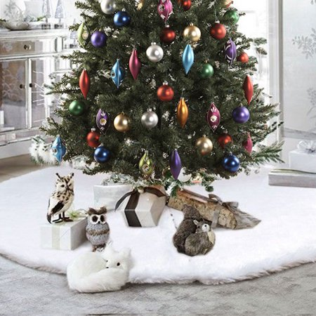 35.4 inch Round Christmas Tree Skirts White Plush Fur Carpet Merry Christmas Decoration for New Year Home Party Decoration - Decorations For New Year